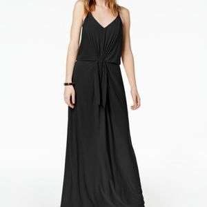 Bar III  Tie Front Knit Maxi Black Halter Dress